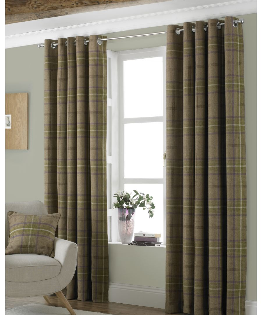 Image for Aviemore Wool Effect Eyelet Curtains in Thistle