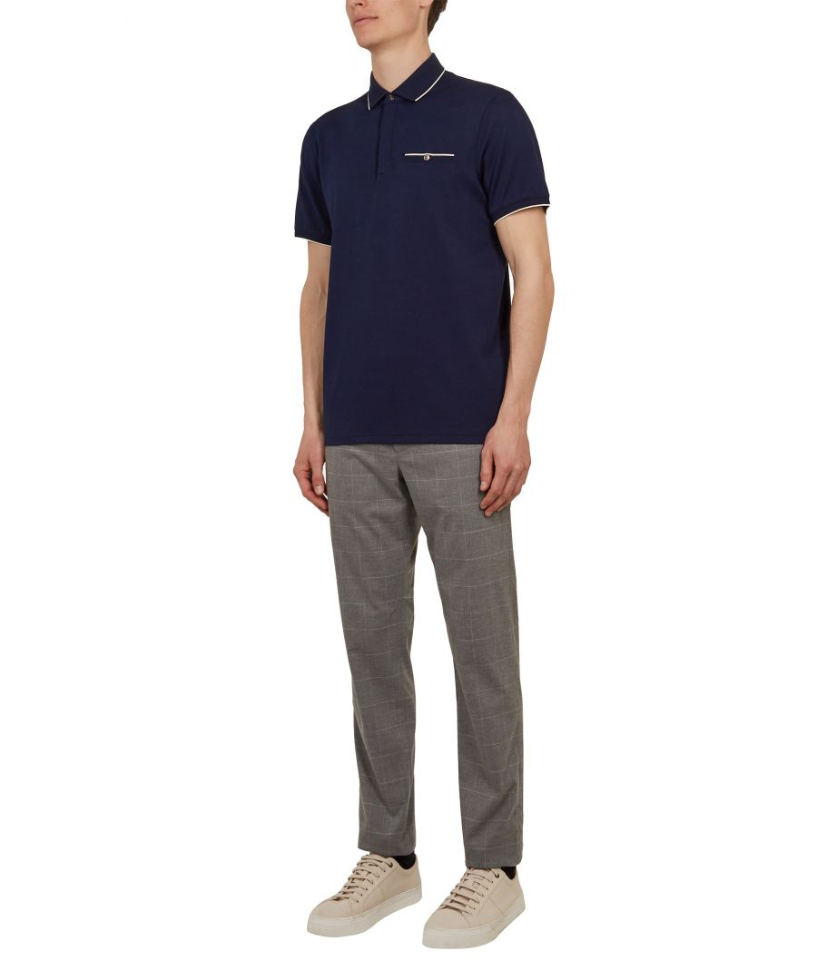Image for Ted Baker Fincham Short-sleeved Jersey Polo, Navy