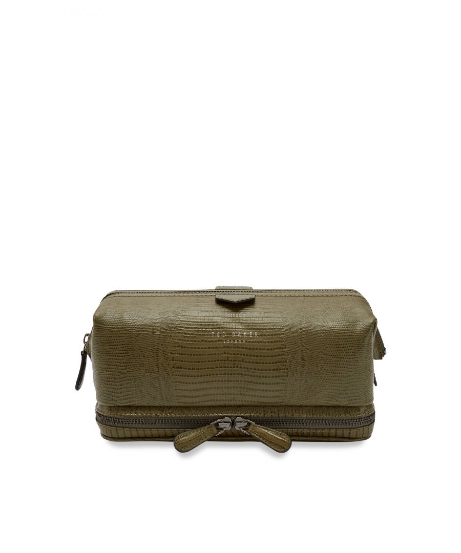 Image for Ted Baker Lizdun Exotic Lizard Washbag, Olive