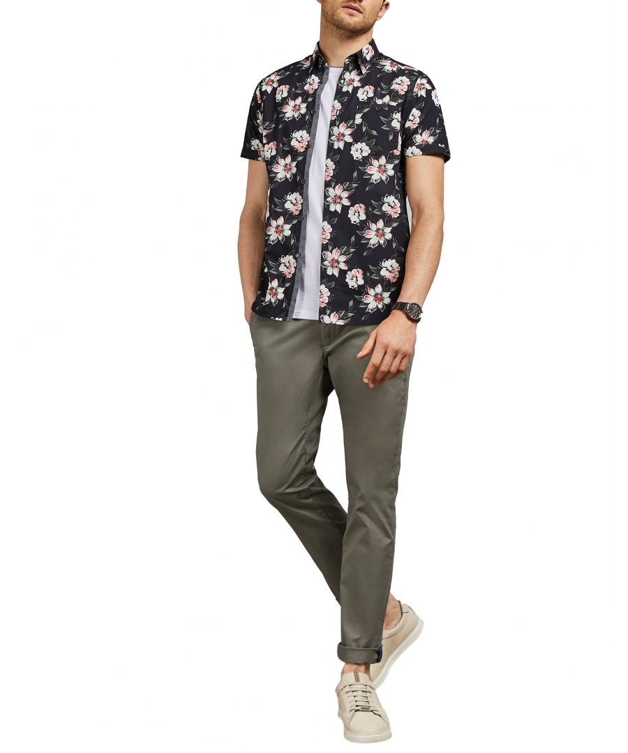 Image for Ted Baker Seenchi Slim Fit Plain Chino, Olive