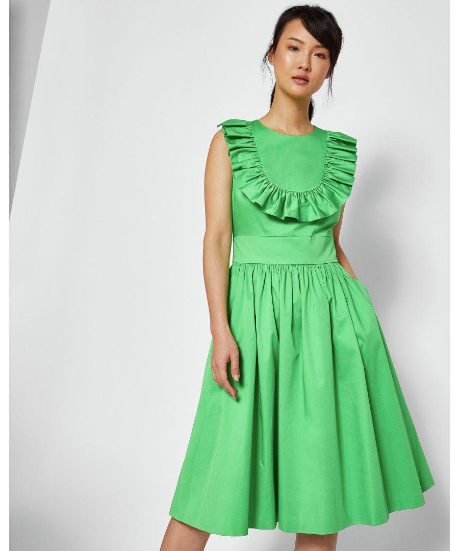 Image for Ted Baker Awrah A-Line Ruffle Bib Midi Dress, Bright Green