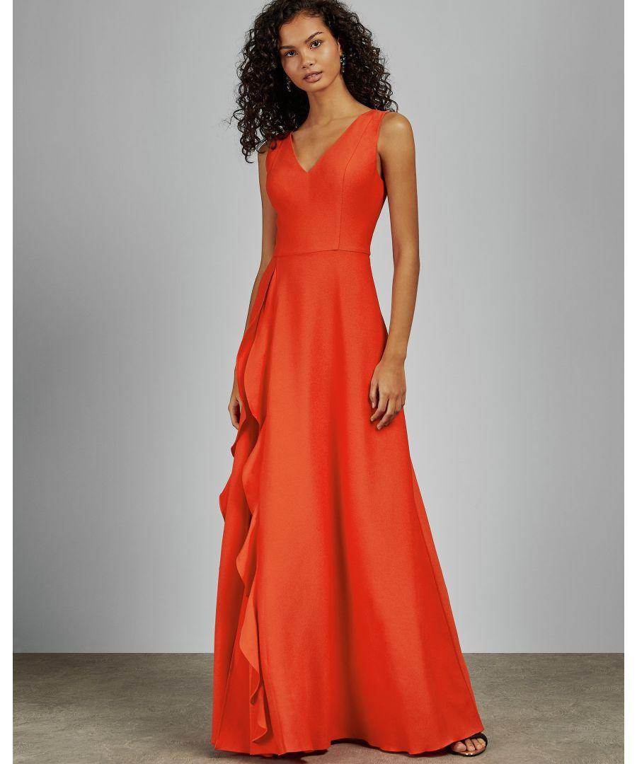 Image for Ted Baker Azaelea V Neck Ruffle Sleeved Maxi Dress, Dark Orange