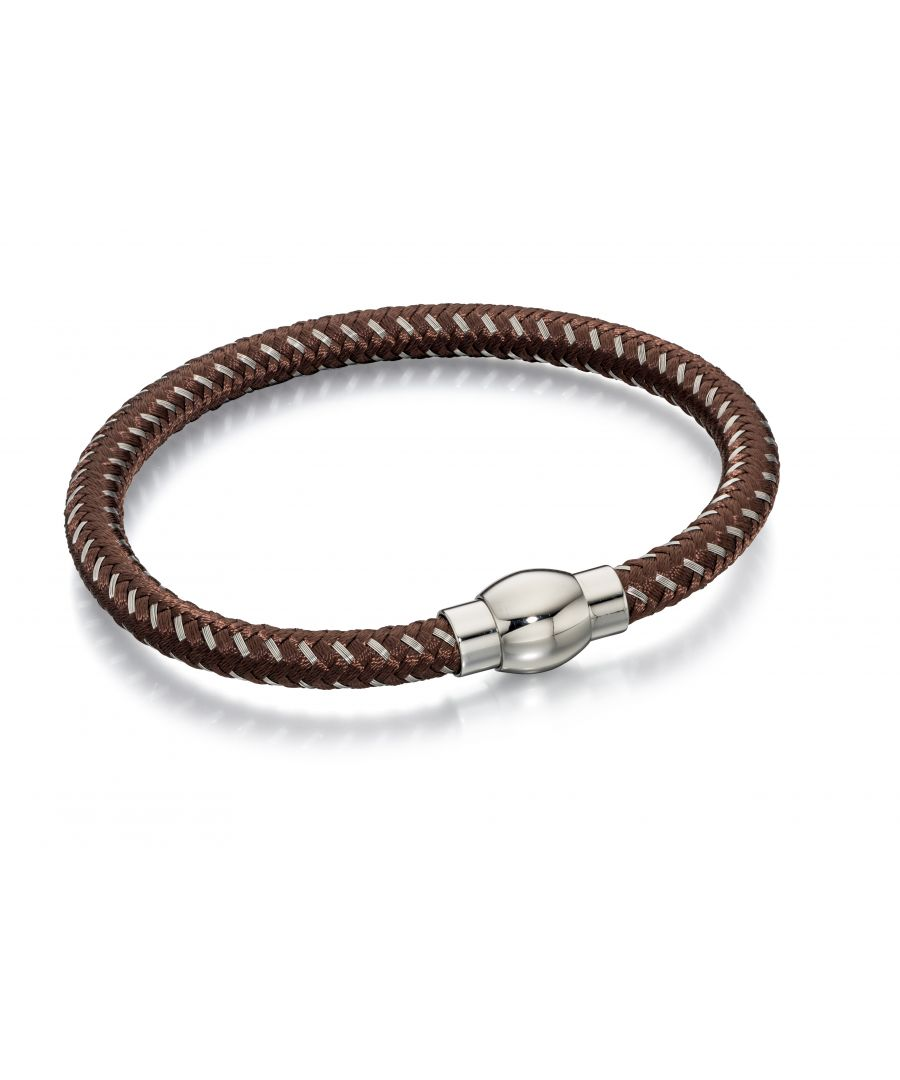 Image for Fred Bennett Mens Brown & Grey Nylon Woven Bracelet With Stainless Steel Magnetic Clasp Length 21.5cm