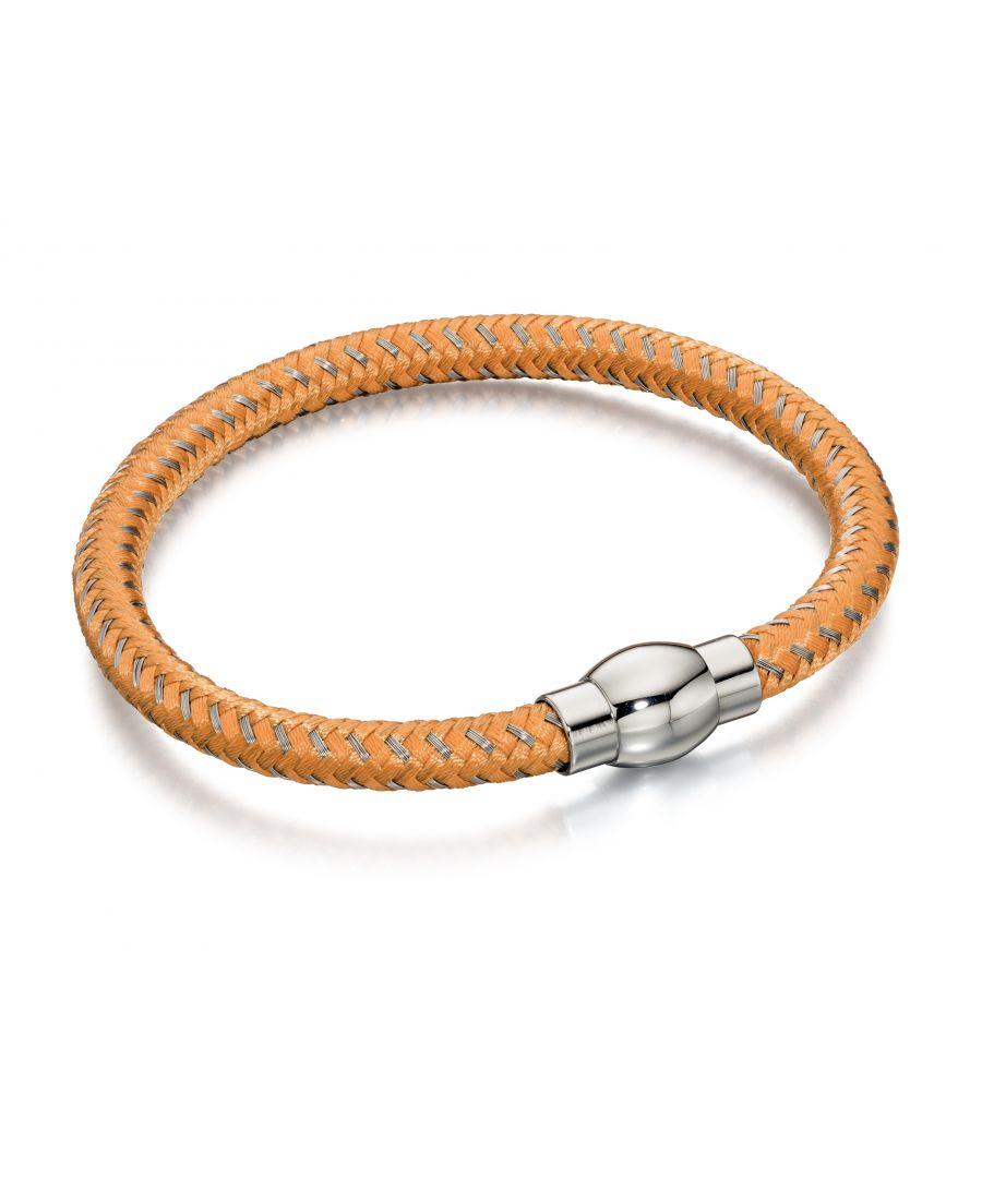 Image for Fred Bennett Mens Orange & Grey Nylon Woven Bracelet With Stainless Steel Magnetic Clasp Length 21.5cm