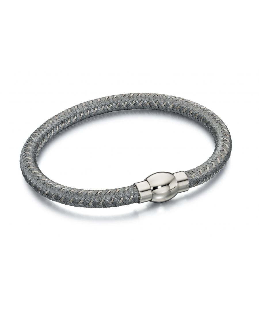 Image for Fred Bennett Mens Silver & Grey Nylon Woven Bracelet With Stainless Steel Magnetic Clasp Length 21.5cm