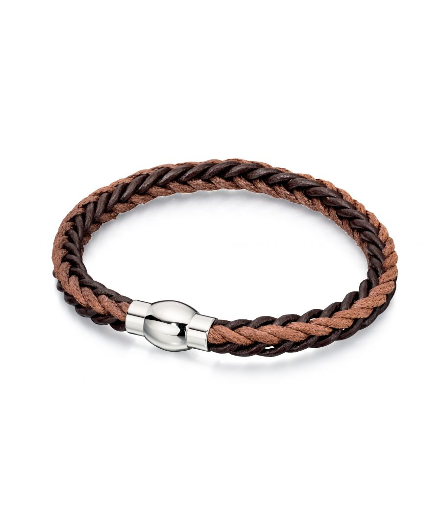 Image for Fred Bennett Mens Brown Leather & Cord Bracelet with Stainless Steel Clasp of Length 21.5cm