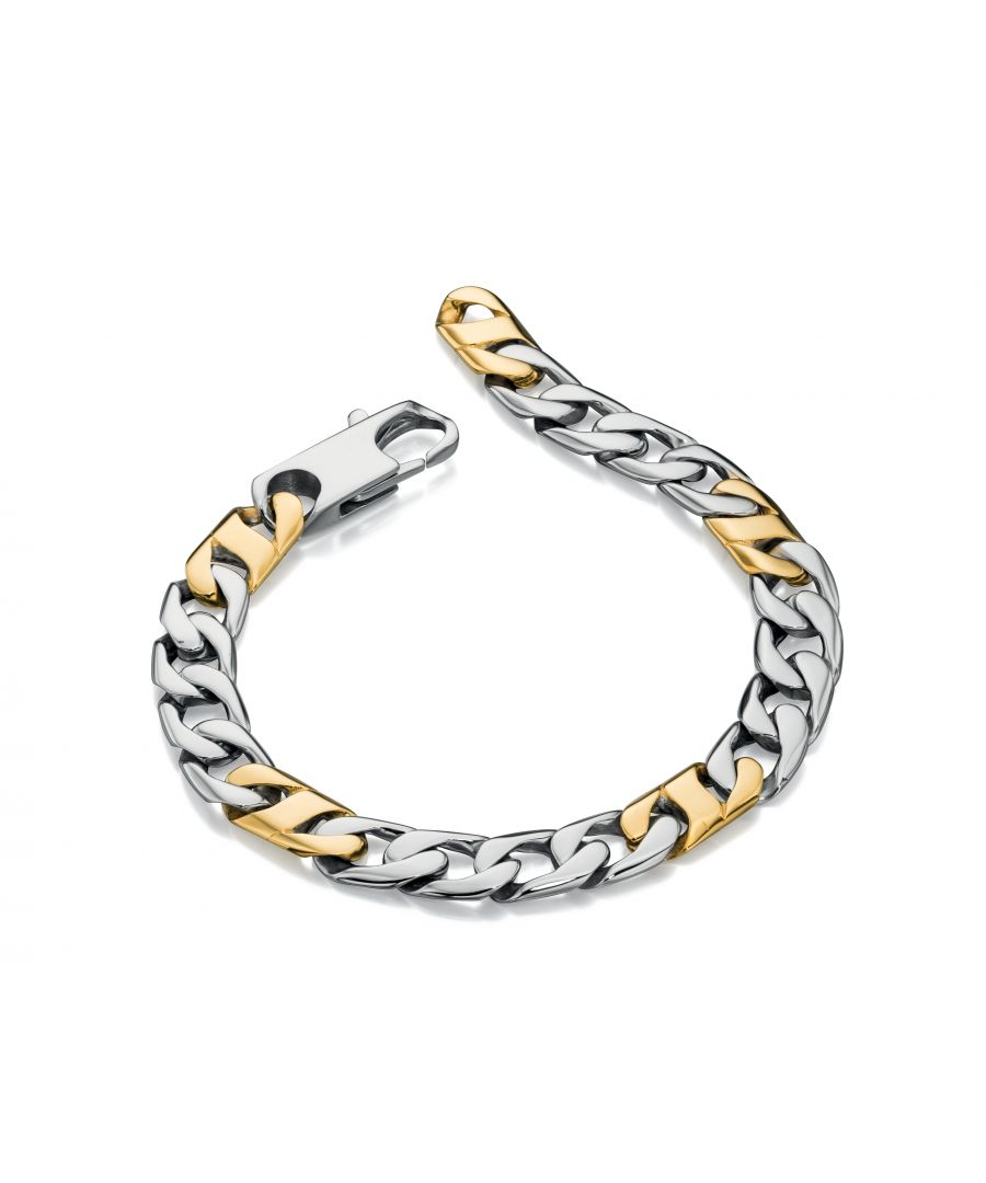 Image for Fred Bennett Mens Stainless Steel Gold PVD Plate Detail Curb Chain Bracelet of Length 22cm
