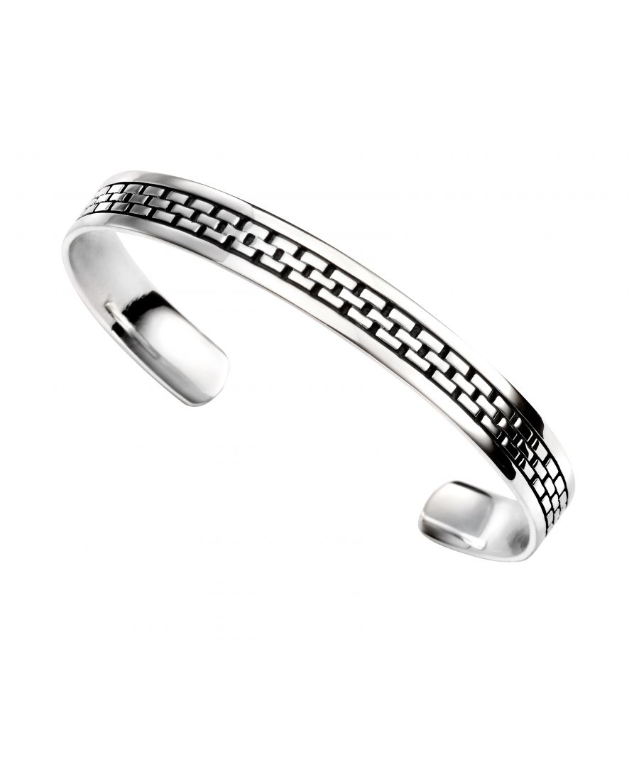Image for Elements Silver Men's Oxidised Square Link Pattern Torque Bangle
