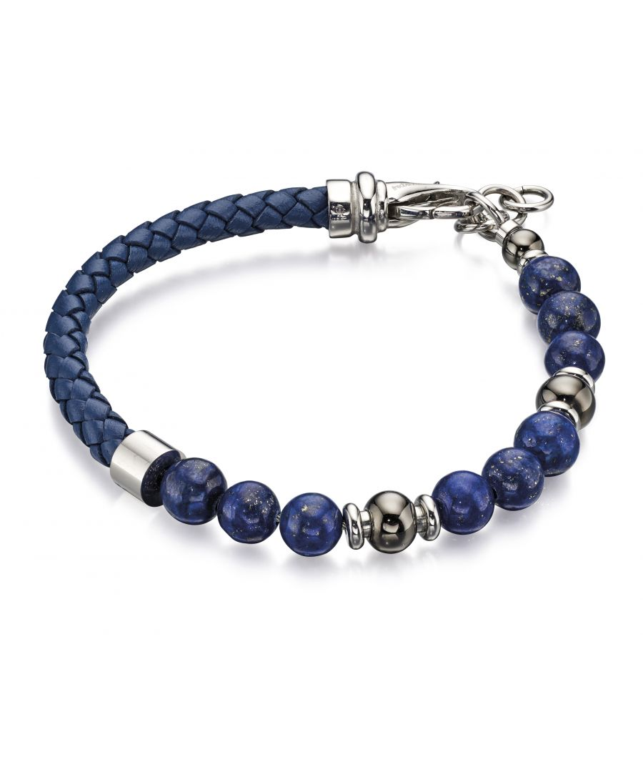 Image for Fred Bennett Howlite Bead and Grey Leather Bracelet