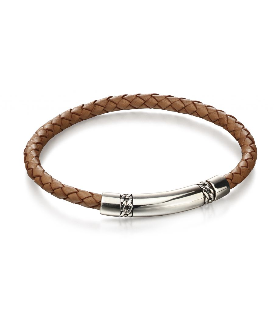 Image for Fred Bennett Mens 925 Sterling Silver Tan Brown Woven Leather & Chain Detail Bracelet of Length 22cm