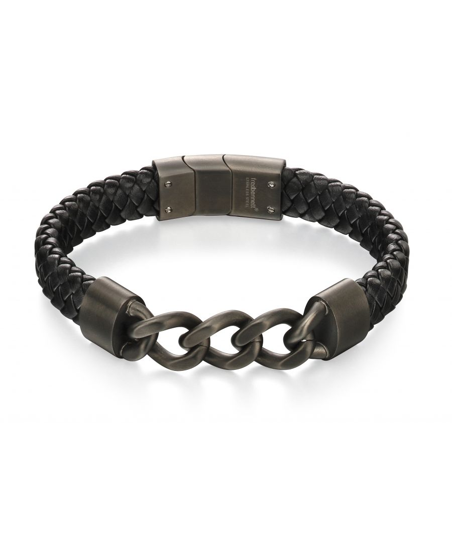 Image for Fred Bennett Mens Gunmetal Stainless Steel Chunky Chain & Black Leather Bracelet of Length 22.3cm B4981