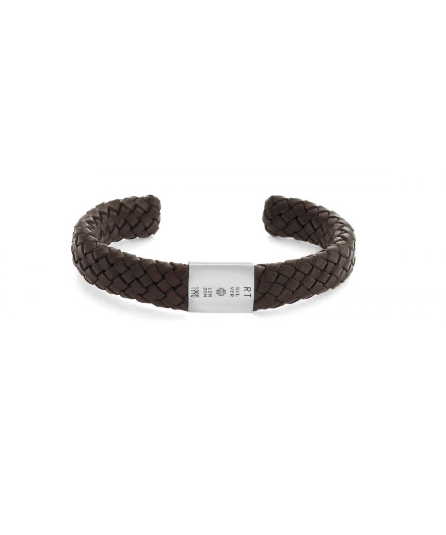 Image for Silver  Braided Leather  Brown  Large  Bangle Intrecciato