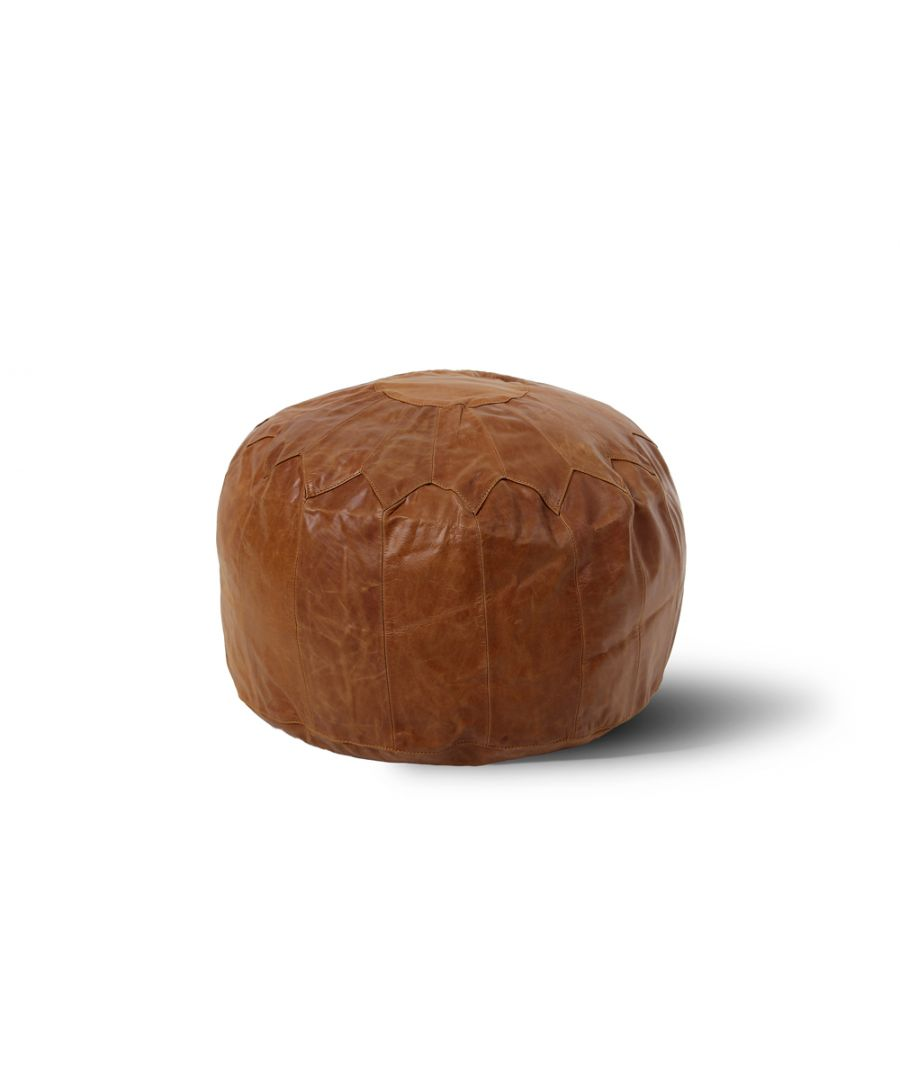 Image for Woodland Leather Tan Morrocon Style Pouffe 17.5