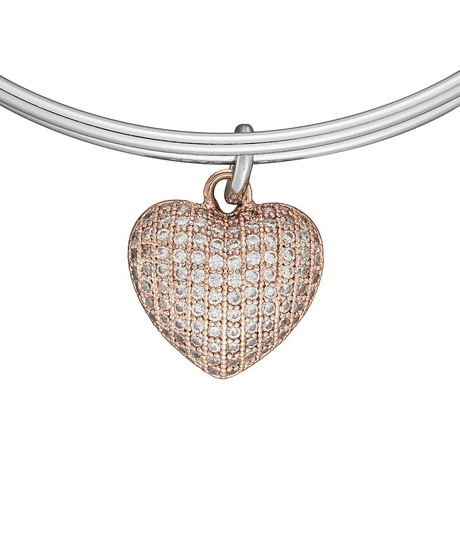Image for Anne Jolie  Rose Gold Heart Charm Expandable Bangle