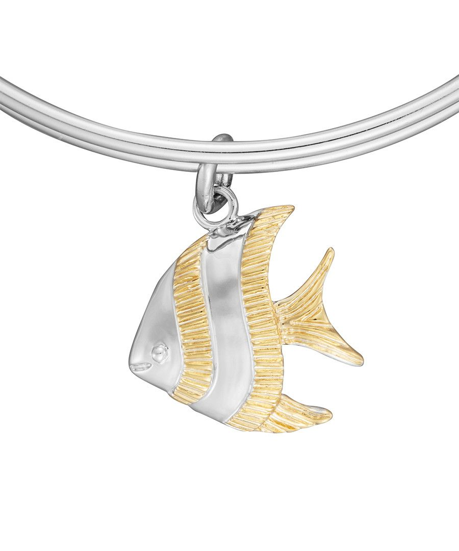 Image for Anne Jolie Gold Tone Fish Charm Expandable Bangle