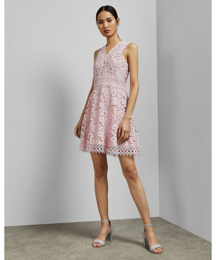 Image for Ted Baker Beniel Lace Skater Dress, Light Pink