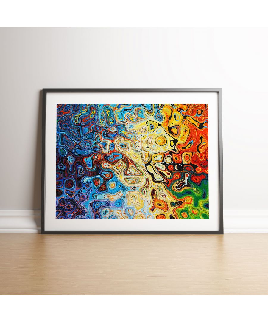 Image for Abstract Coloured Reflection - Black frame
