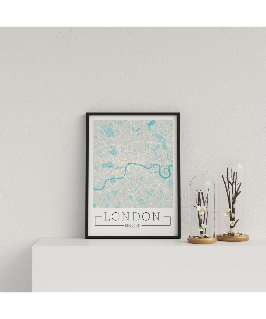 Image for City Location Ordnance Map Typography Blue London - Black frame