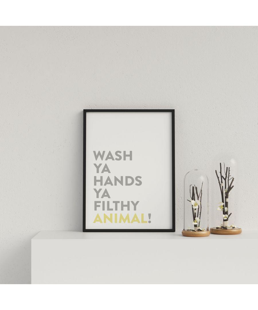 Image for Typography Wash Ya Hands v3 Y&G - Black frame