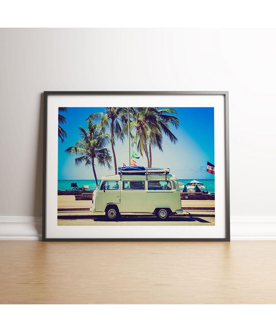 Image for Beachside Surfer Camper Van Colour - Black frame