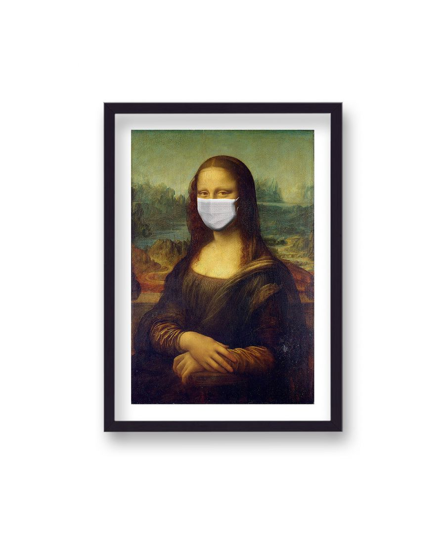 Image for Mona Lisa with Facemask - Black Frame