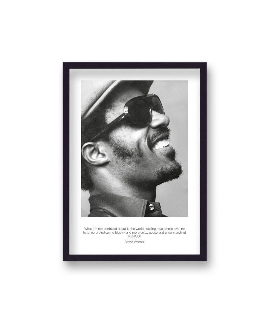 Image for Polaroid Style B&W Icon Print Stevie Wonder What I'n Not Confused Non Dated - Black Frame