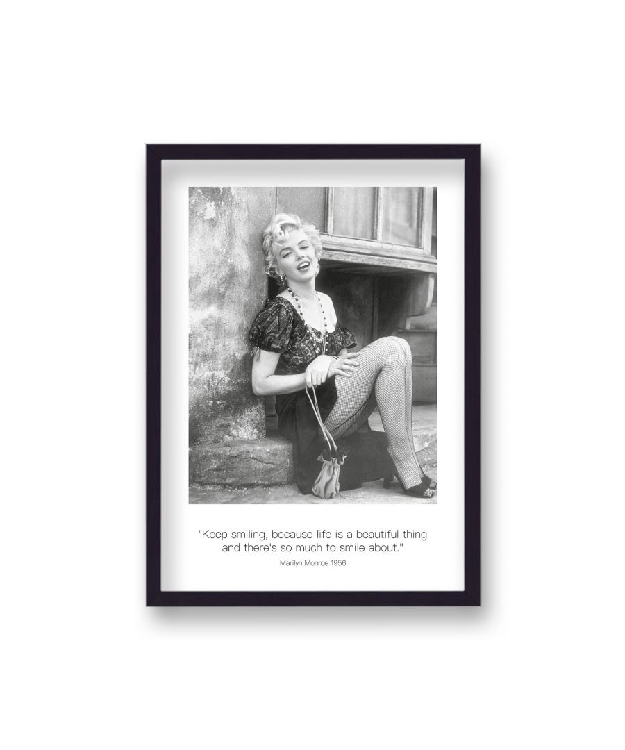 Image for Polaroid Style B&W Icon Print Marilyn Monroe Keep Smiling Dated - Black Frame