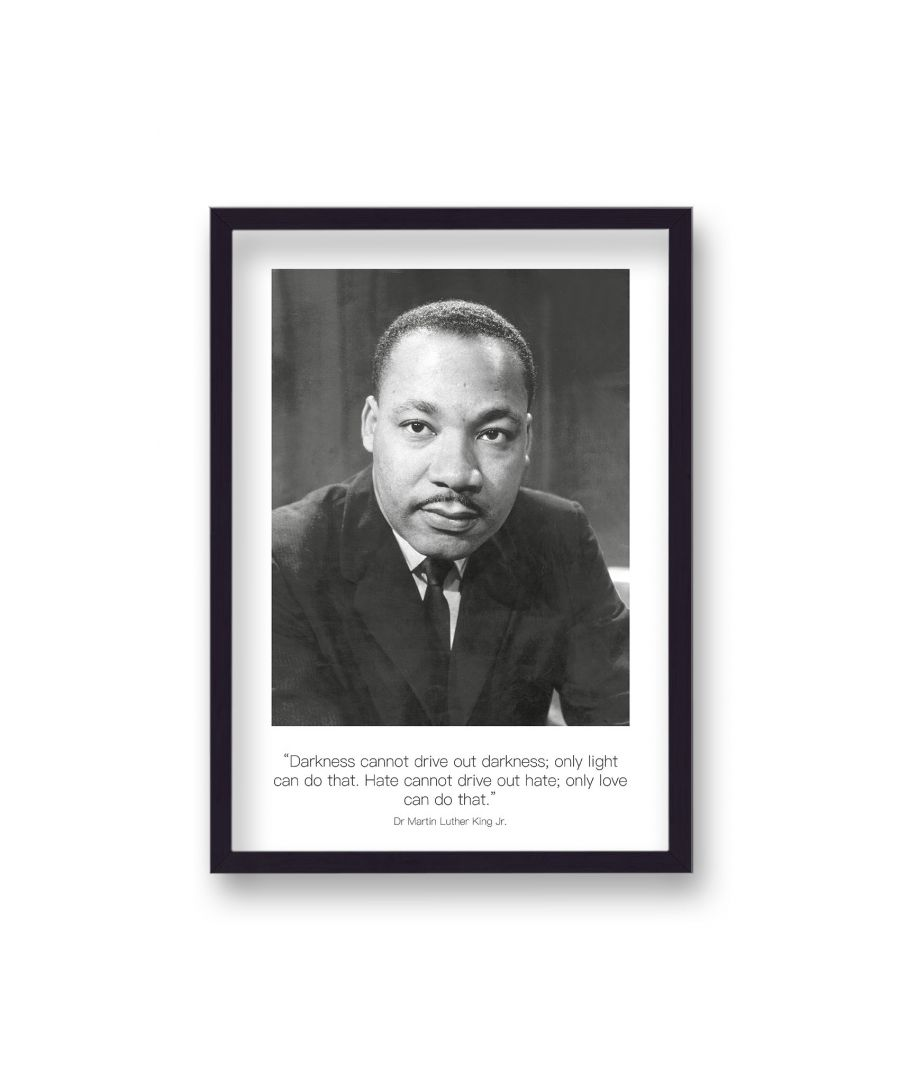 Image for Polaroid Style B&W Icon Print Martin Luther King Darkness Cannot Drive Non Dated - Black Frame