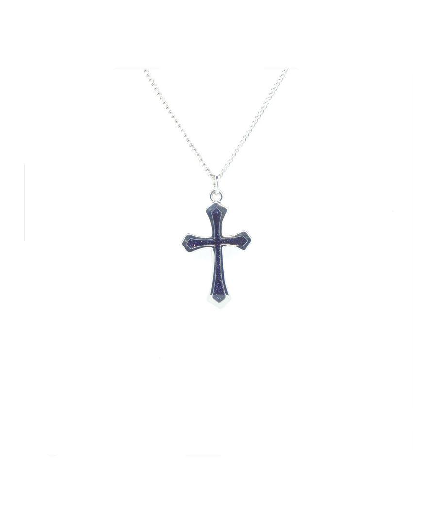 Image for Simon Carter Blue Goldstone Cross Necklace