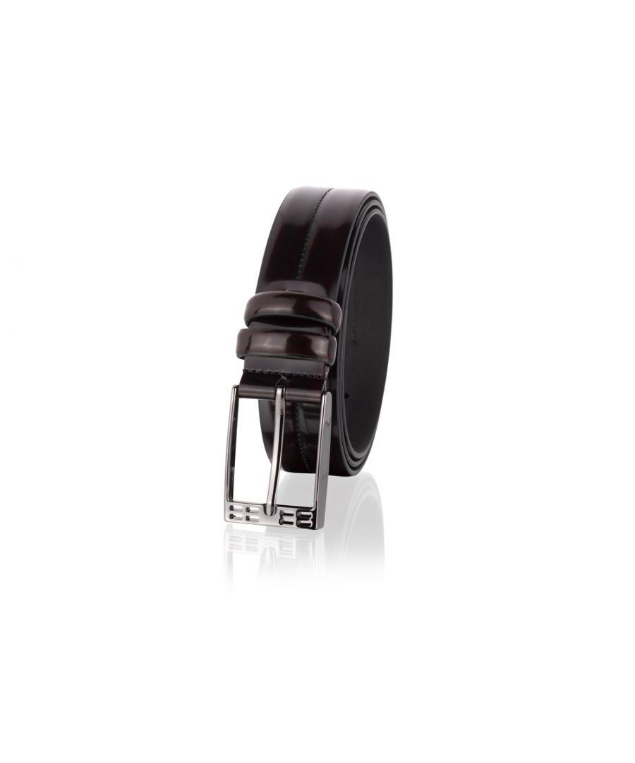 Image for Woodland Leathers Burgundy 35mm Men's Formal Leather Belt