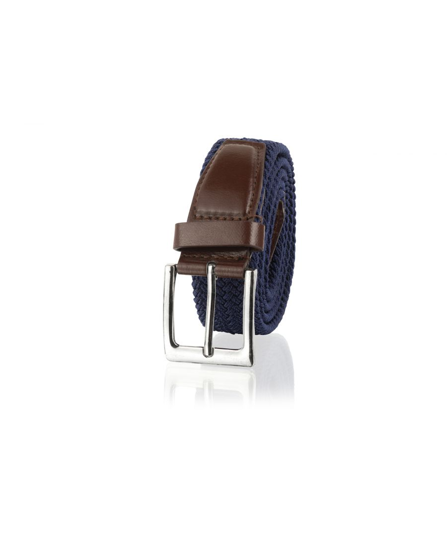 Image for Woodland Leathers Navy and Tan  33mm Men's Casual Belt
