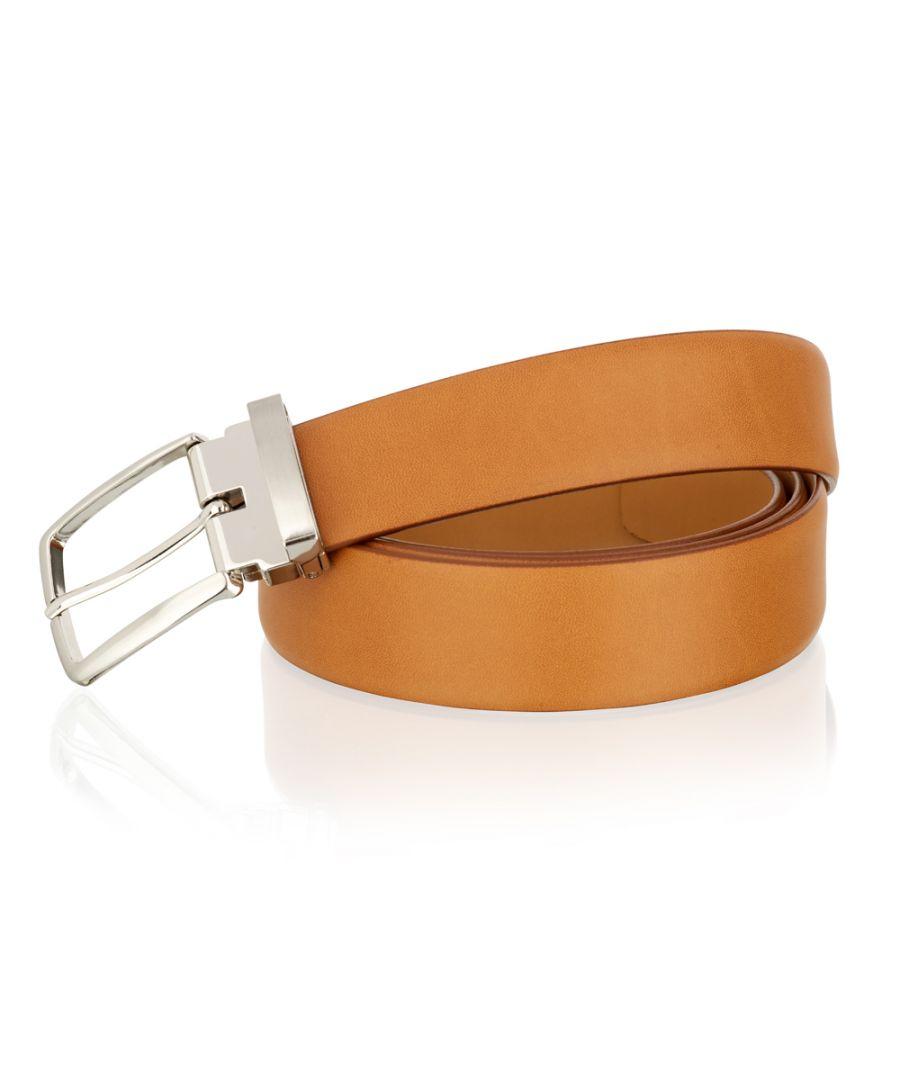 Image for Woodland Leather Tan 35mm Classic Adjustable Feather Edge Belt Silver Metal Buckle