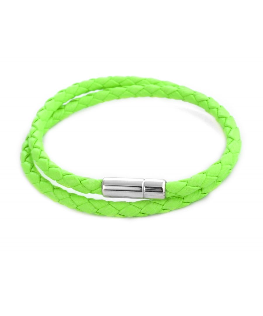 Image for Silver  Leather  Fluo Green  M-38cm(L)  Double Wrap  Pop Scoubidou