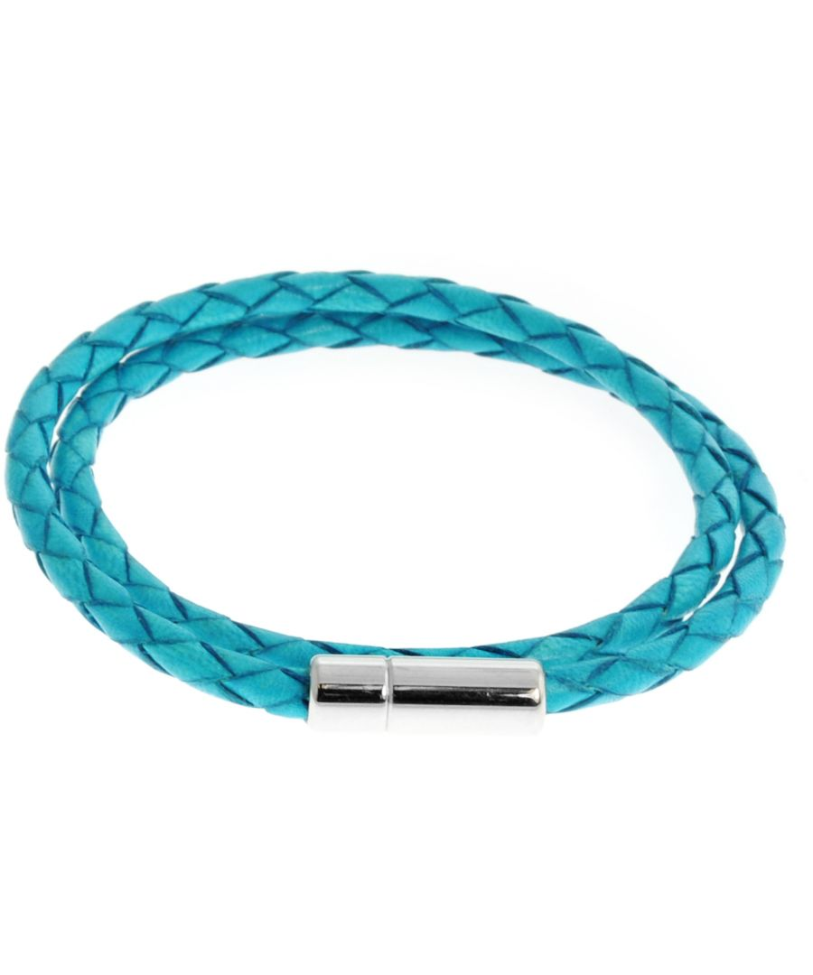 Image for Silver  Leather  Turquoise Single wrap M-38cm(L)  Scoubidou