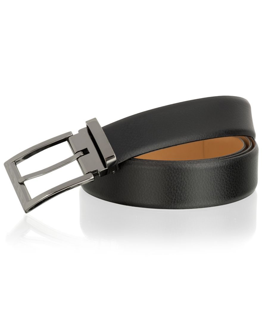 Image for Woodland Leather Black 35mm Classic Adjustable Feather Edge Belt Gun Metal Buckle