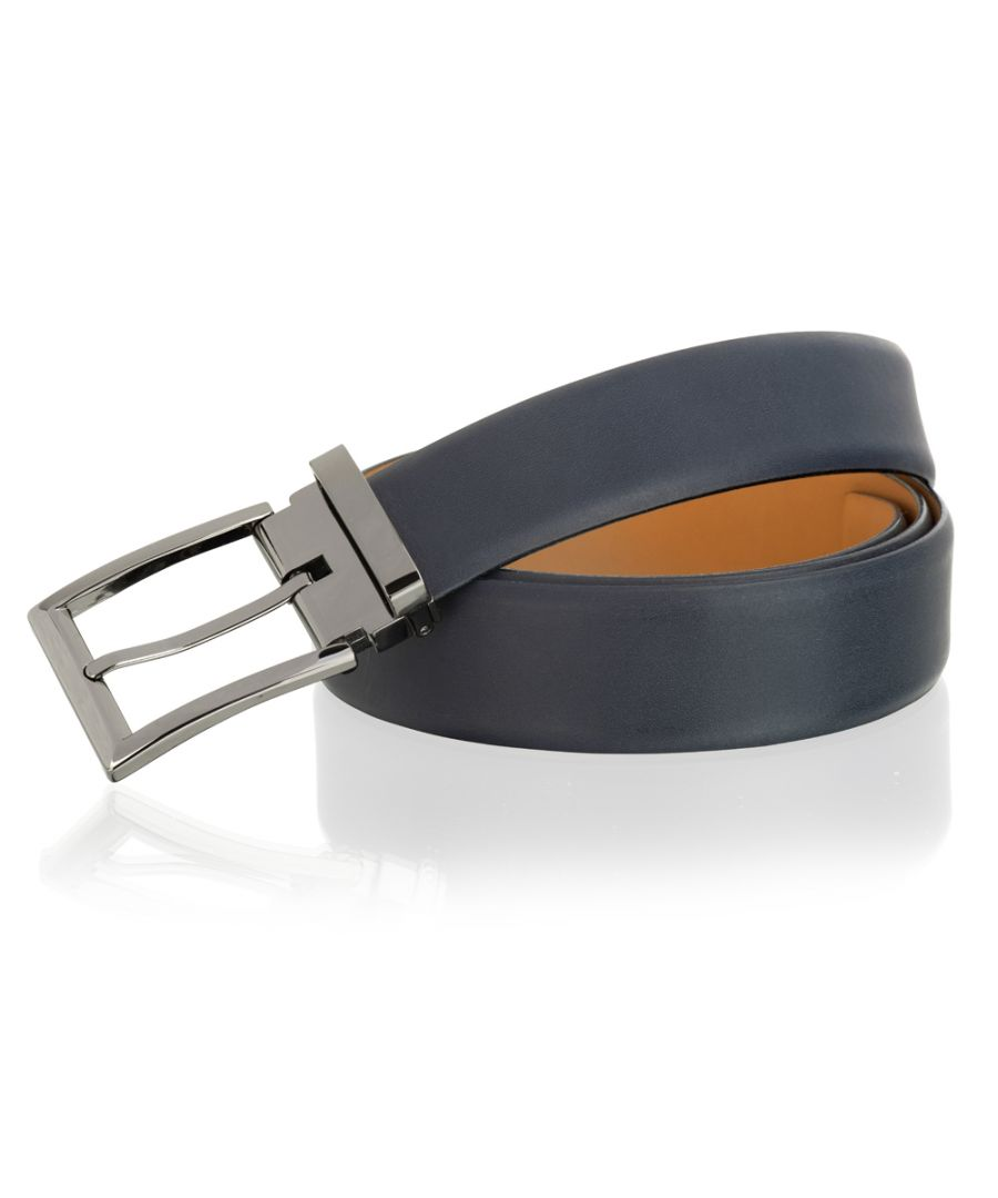 Image for Woodland Leather Navy 35mm Classic Adjustable Feather Edge Belt Gun Metal Buckle