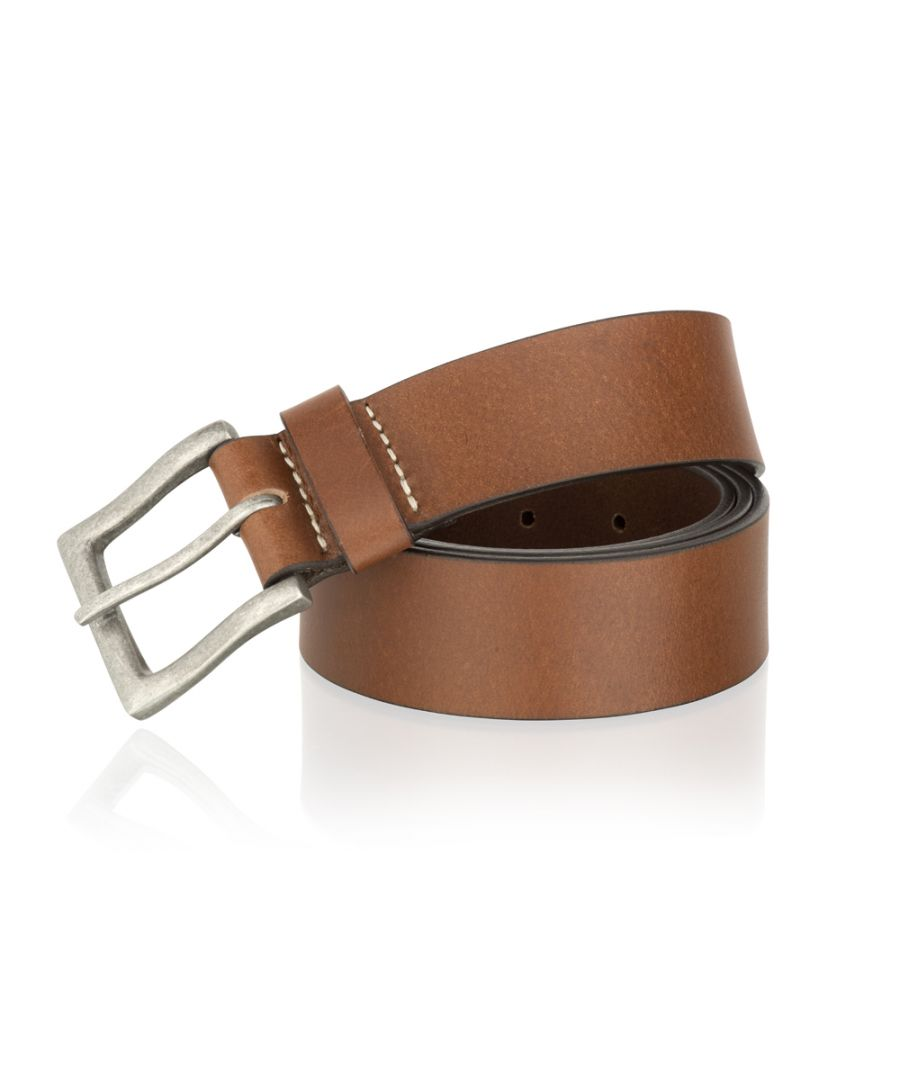 Image for Woodland Leather Tan 40mm Casual Jean Belt Brush Metal Buckle