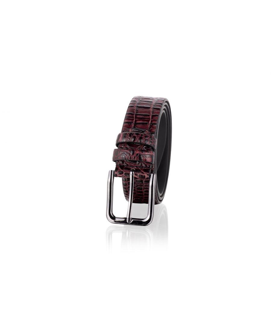 Image for Woodland Leathers Burgundy 35mm Genuine Leather Snake Skin Print