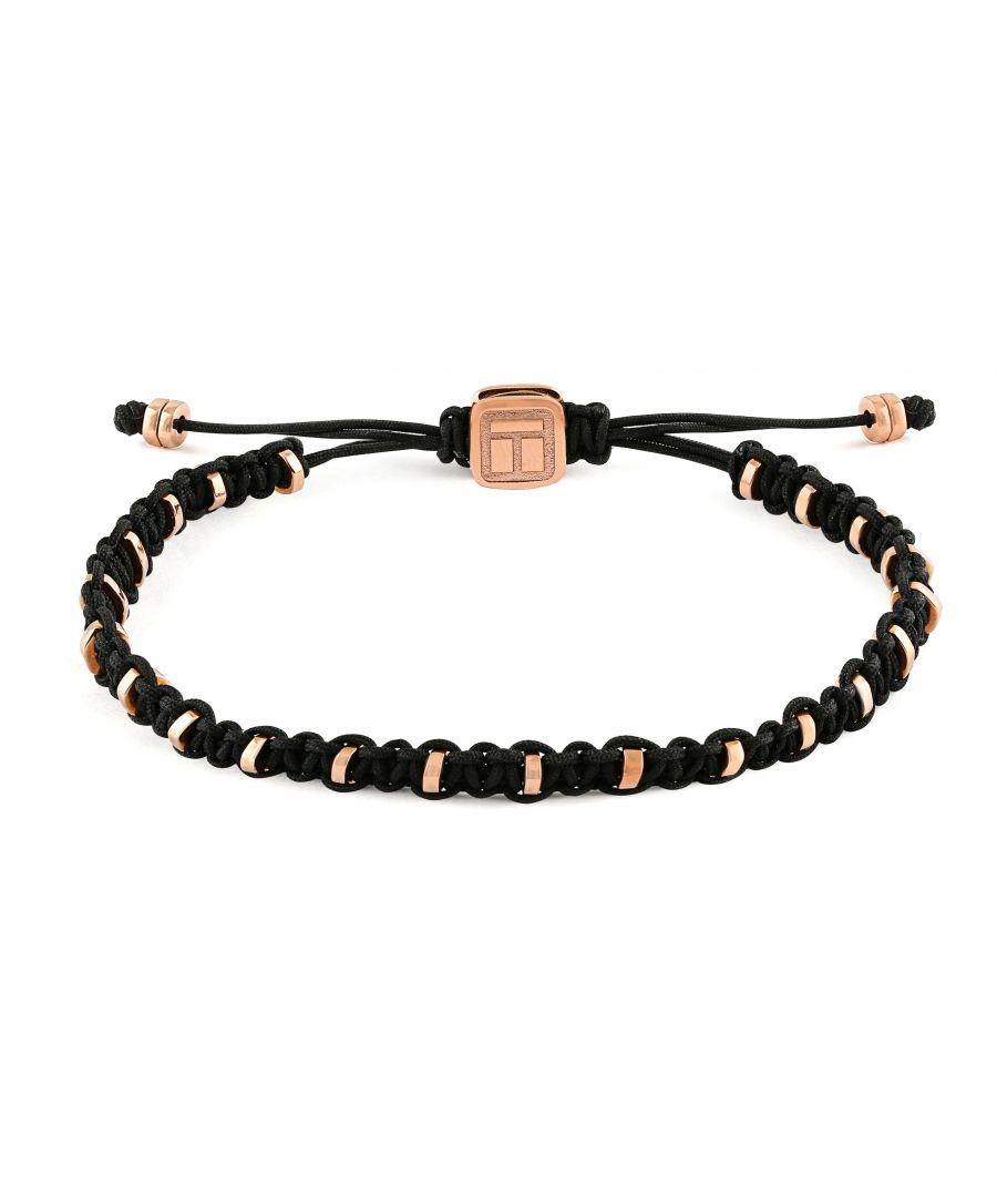 Image for Rose gold plated  24Discs  Scattered  Black  Macrame Single wrap  M 17cm CF Macrame Bamboo