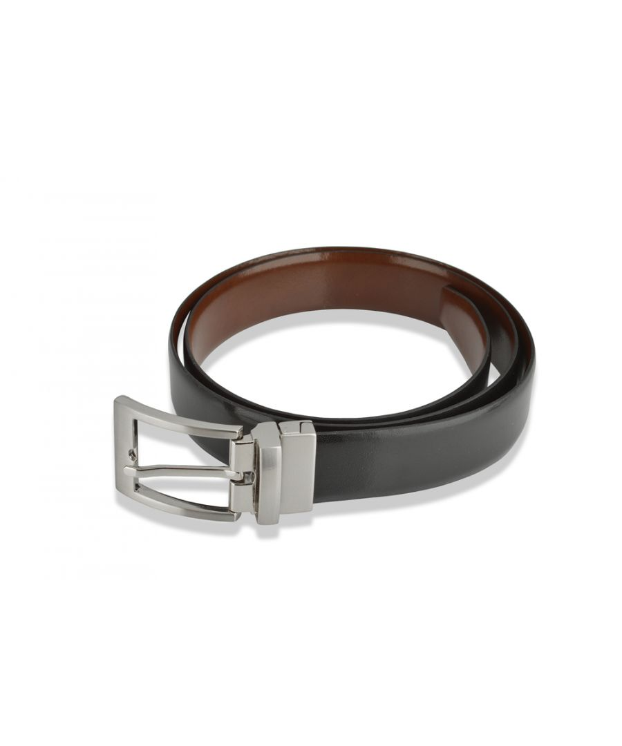 Image for Mens Classic 28mm Leather Belt Black with Tan Reversible