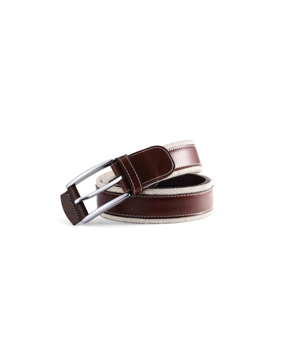 Image for Mens Classic Fabric Ribbed Contrast Brown Belt 35mm