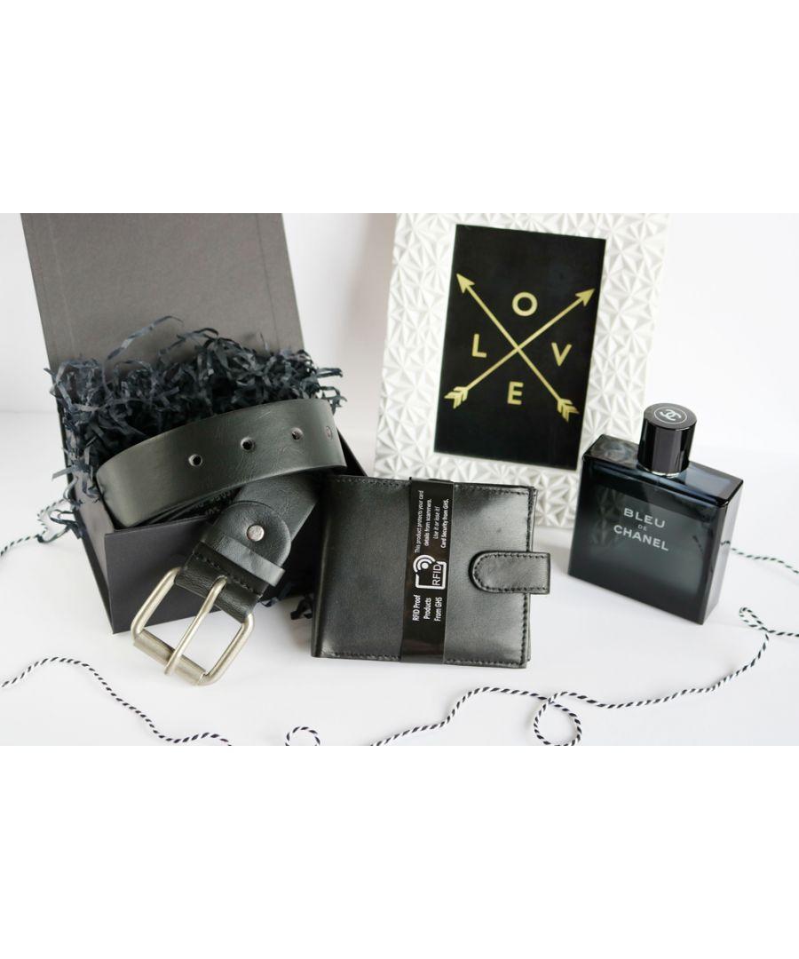 Image for Woodland Leather BL031 Adjustable Belt Set RFID Wallet Gift Box