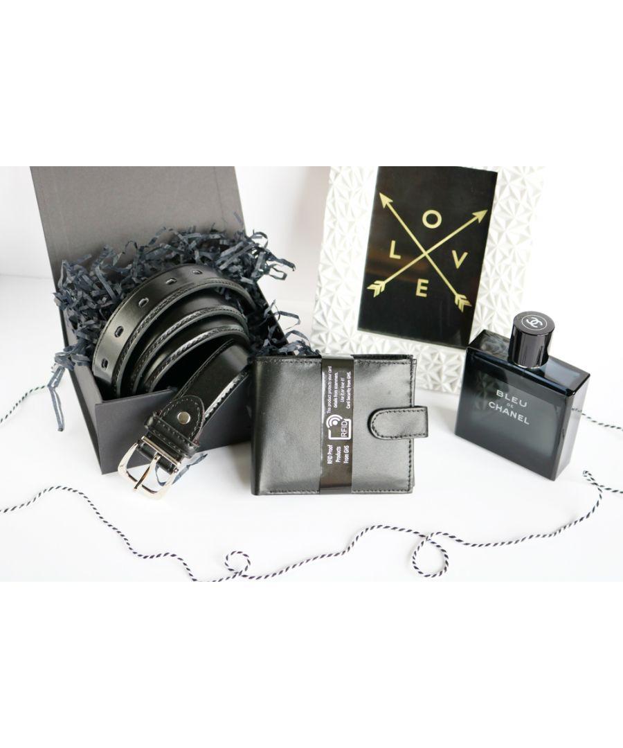 Image for Woodland Leather BL074 Adjustable Belt Set RFID Wallet Gift Box
