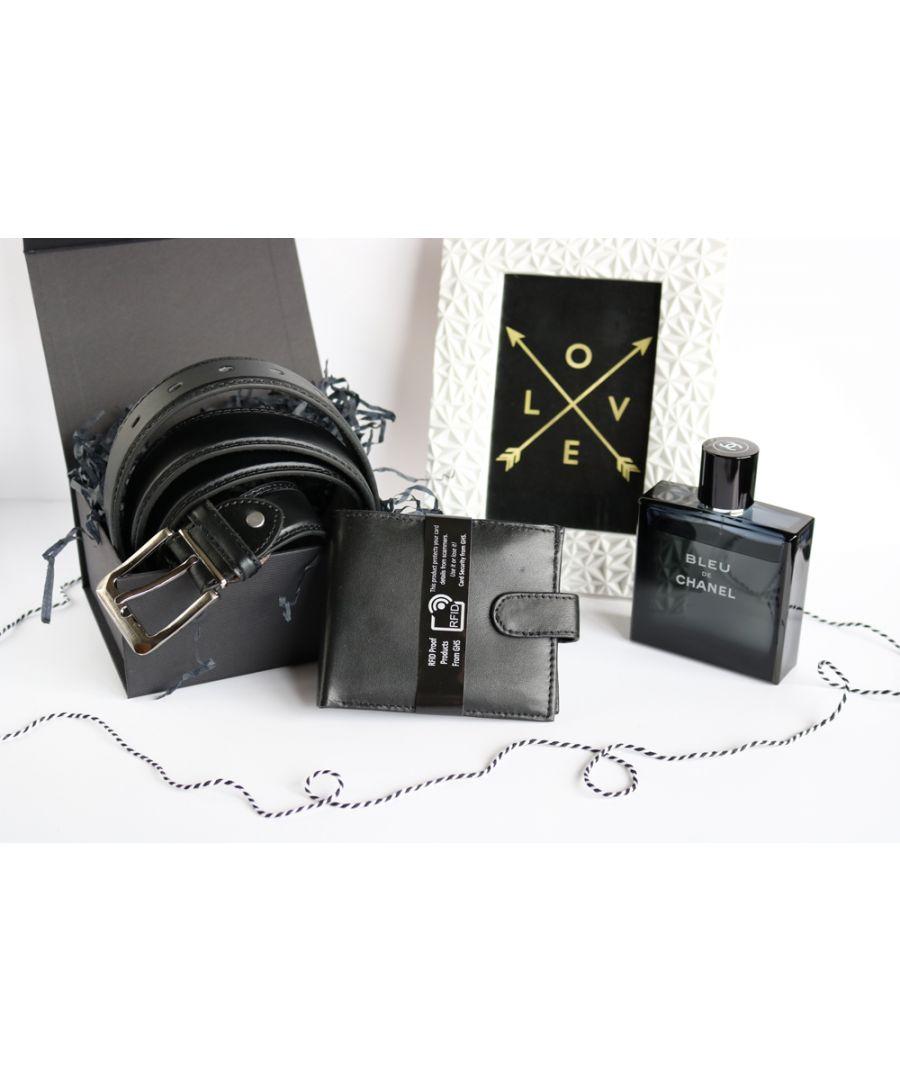 Image for Woodland Leather BL085 Adjustable Belt Set RFID Wallet Gift Box