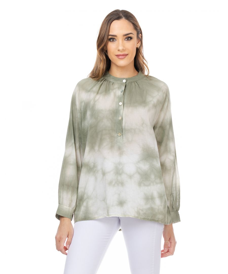 Image for Tie-dye effect long sleeve shirt with mao neck