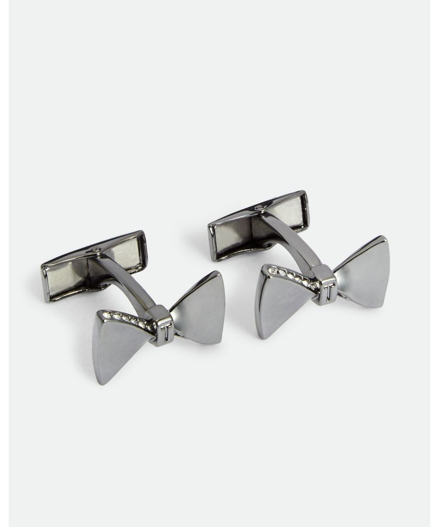 Image for Ted Baker Bowed Crystal Bow Cufflinks, Gunmetal