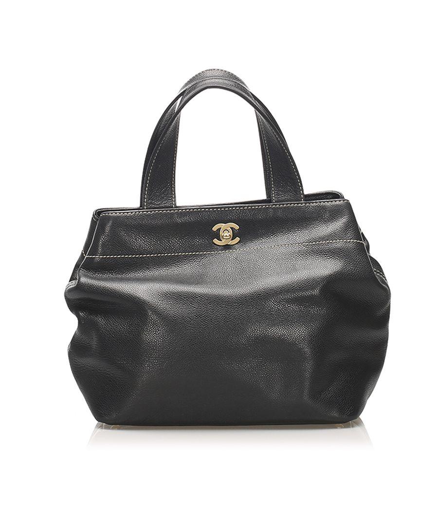 Image for Vintage Chanel CC Leather Satchel Black