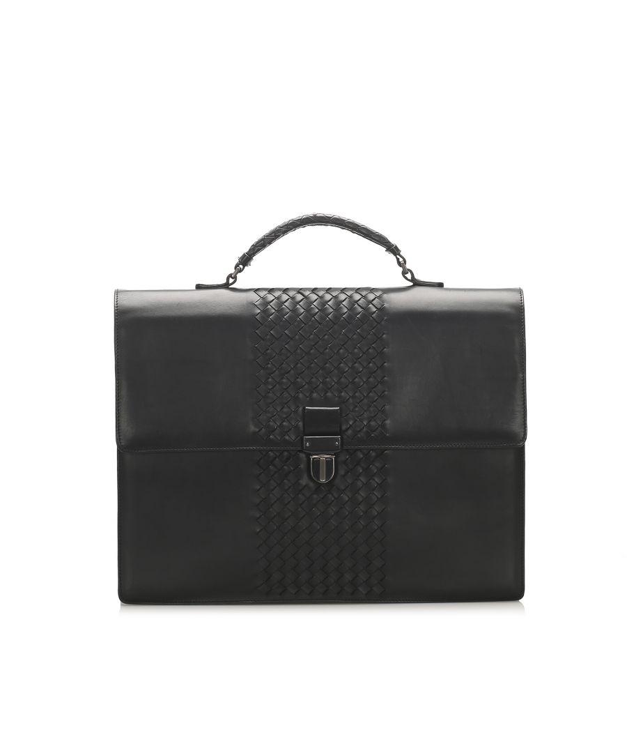 Image for Vintage Bottega Veneta Intrecciato Leather Business Bag Black