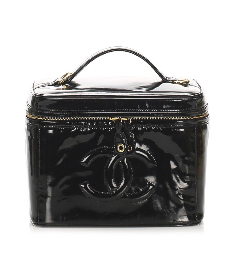 Image for Vintage Chanel CC Patent Leather Vanity Bag Black