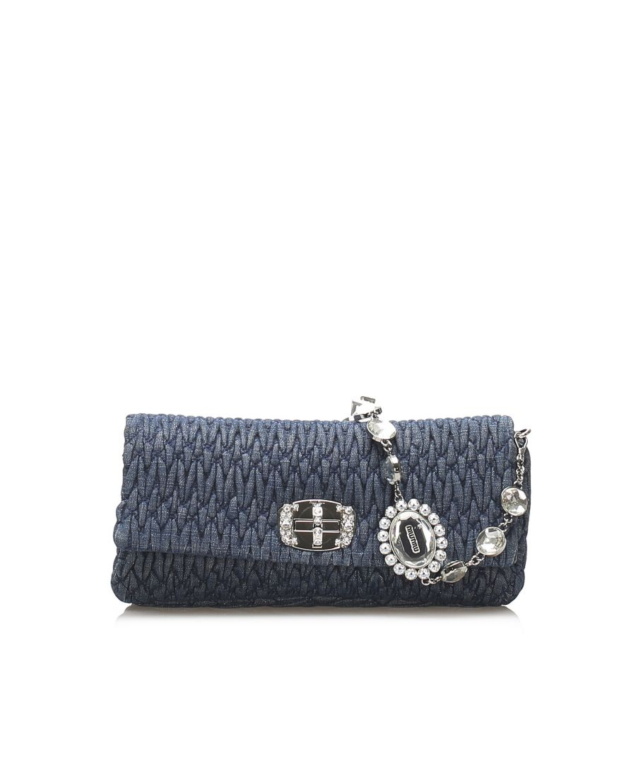 Image for Vintage Miu Miu Mini Matelasse Leather Baguette Blue